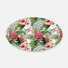 Vintage Chic Tropical Hibiscus Flo Oval Car Magnet