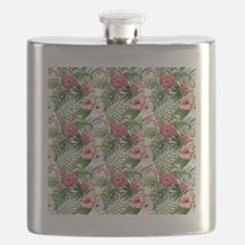 Vintage Chic Tropical Hibiscus Floral Flask