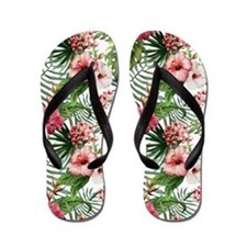 Vintage Chic Tropical Hibiscus Floral Flip Flops