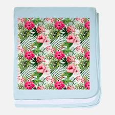 Vintage Chic Tropical Hibiscus Floral baby blanket