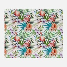 Vintage Chic Tropical Hibiscus Flora Throw Blanket