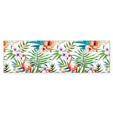 Vintage Chic Tropical Hibis Bumper Bumper Sticker