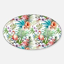 Vintage Chic Tropical Hibiscus Flor Sticker (Oval)