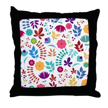 Cute Bohemian Throw Pillows : Cute Whimsical Floral Boho Chic Throw Pillow by BimbysPersonalizedGifts
