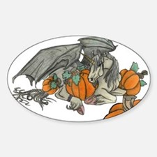 Bat winged Unicorn protecting a pumpkin pa Decal