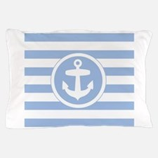 Blue Anchor and stripes Pillow Case