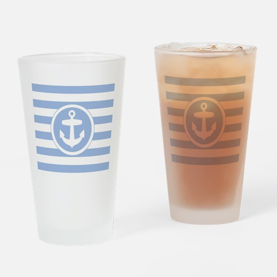 Blue Anchor and stripes Drinking Glass