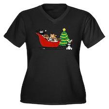 Funny Snow Women's Plus Size V-Neck Dark T-Shirt