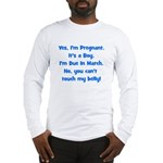 Pregnant Boy due March Belly Long Sleeve T-Shirt