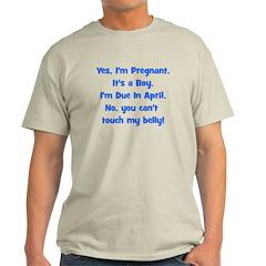 Pregnant Boy due April Belly T-Shirt