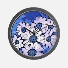 Purple Daisies on Blue - March of the D Wall Clock