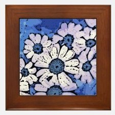 Purple Daisies on Blue - March of the Framed Tile