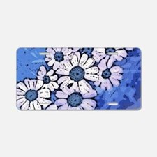Purple Daisies on Blue - Ma Aluminum License Plate