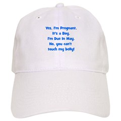 Pregnant Boy due May Belly Baseball Cap