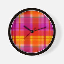 Fall Colors Plaid Wall Clock
