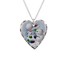 Volleyball Snowman xmas Necklace