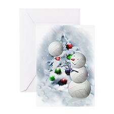 Volleyball Snowman xmas Greeting Card