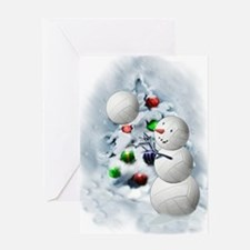 Volleyball Snowman xmas Greeting Card