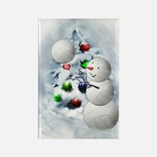 Volleyball Snowman xmas Rectangle Magnet