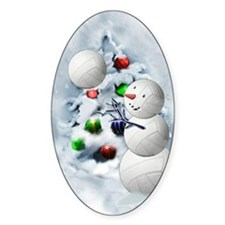 Volleyball Snowman xmas Decal