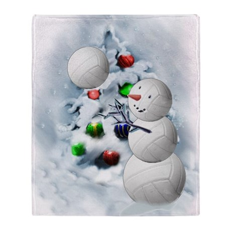 Volleyball Snowman Xmas Throw Blanket By Listing Store 3804076