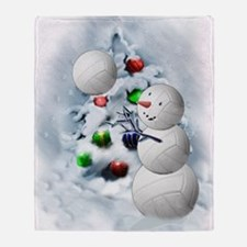Volleyball Snowman xmas Throw Blanket