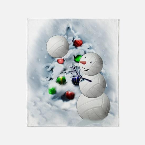 Volleyball Snowman xmas Throw Blanket