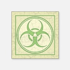 "Antique Biohazard -grn Square Sticker 3"" x 3"""