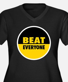 Beat Everyon Women's Plus Size V-Neck Dark T-Shirt