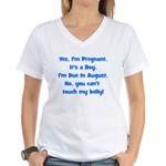 Pregnant Boy due August Belly Women's V-Neck T-Shi