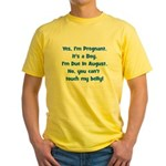 Pregnant Boy due August Belly Yellow T-Shirt