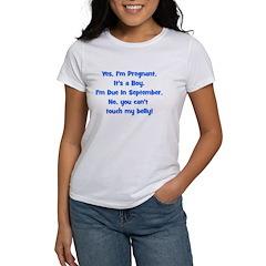 Pregnant Boy due September Be Women's T-Shirt