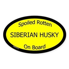 Spoiled Siberian Husky On Board Oval Decal