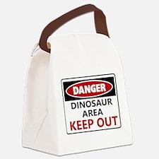 DANGER DINOSAUR AREA Canvas Lunch Bag