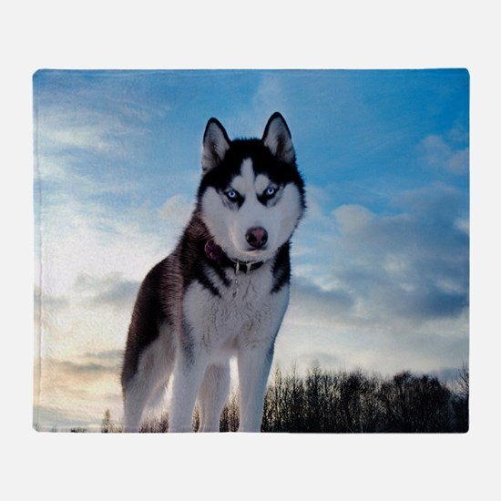 Husky Dog Outdoors Throw Blanket