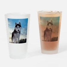 Husky Dog Outdoors Drinking Glass