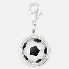 Soccer Ball Silver Round Charm