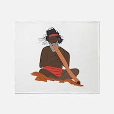 Didgeridoo Player Throw Blanket