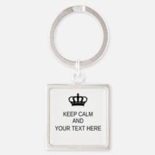 Personalized Keep Calm Square Keychain