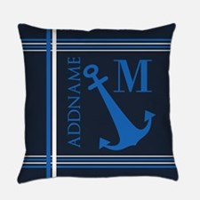 Navy Blue Nautical Anchor Monogram Everyday Pillow
