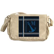 Navy Blue Nautical Anchor Monogram Messenger Bag