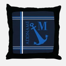 Navy Blue Nautical Anchor Monogram Throw Pillow