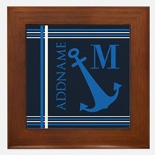 Navy Blue Nautical Anchor Monogram Framed Tile