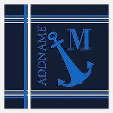 Navy Blue Nautical Anchor M Invitations