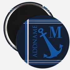 Navy Blue Nautical Anchor Monogram Magnet