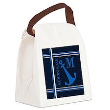 Navy Blue Nautical Anchor Monogra Canvas Lunch Bag