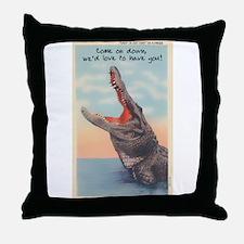 Alligator Invitation Throw Pillow