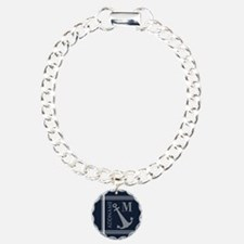 Navy and Silver Anchor S Bracelet