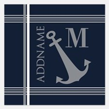 Navy and Silver Anchor Stri Invitations