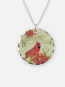 Vintage Christmas Cardinal Necklace